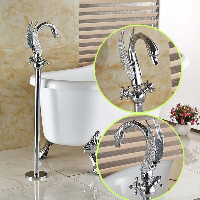 Aliexpress.com : Buy Swan Shape Floor Mount Dual Handle Bathtub ...