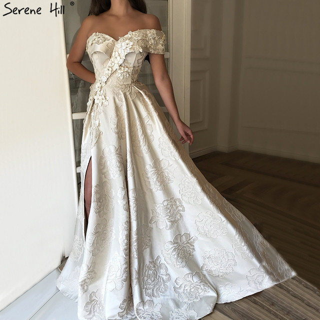 b1e1c33261e Ivory One Shoulder Sexy Prom Dresses 2019 Long Dubai Handmade Flowers  Diamonds Prom Gowns Serene Hill BLA60947