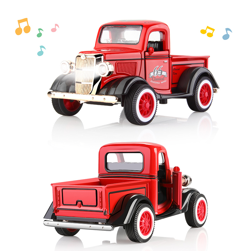 1:36 Pull Back Car Model Metal Diecast Vehicles Music Light Retro Car School Bus Car Toy For Kids Classic & Antique Cars Models