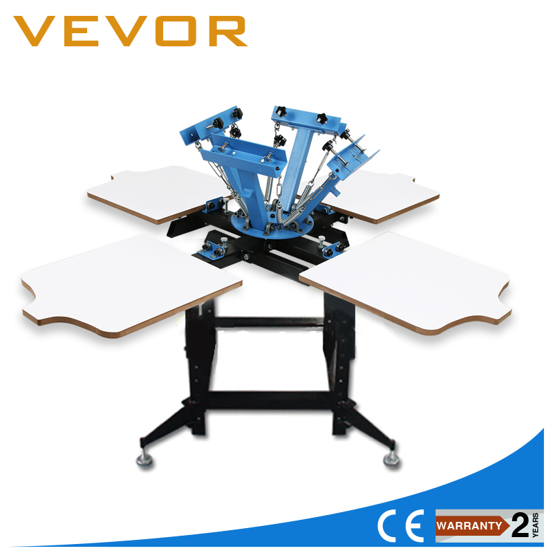 4 Color 4 Station Silk Screen Printing Kit Press Equipment