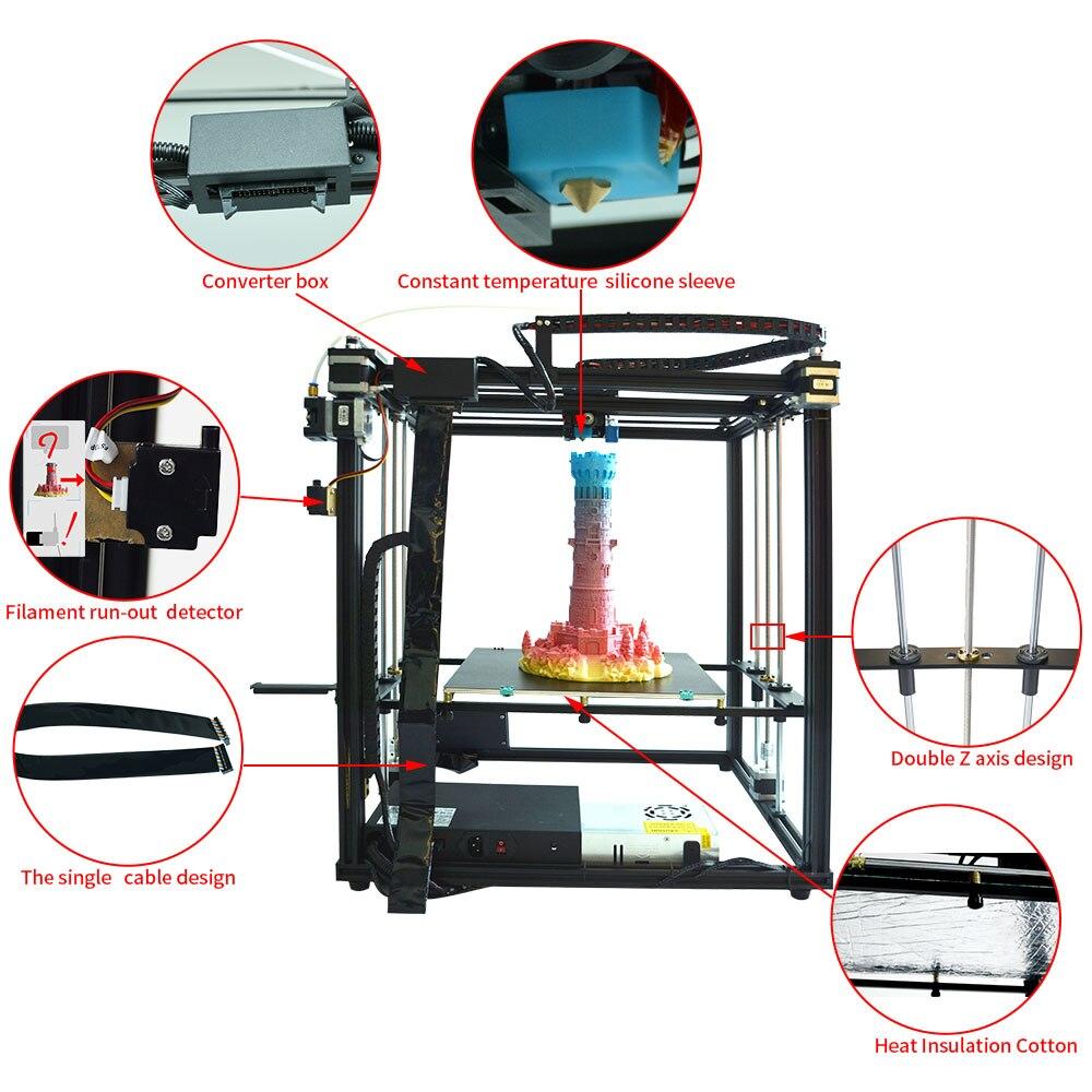 Горячая Распродажа X5SA-400 настольный 3d принтер высокая точность 3D машина автоматическое выравнивание большой размер печати 400*400*400 мм