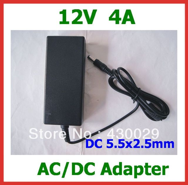 AC/DC Power Adapter 12V 4A 48W DC 5.5x2.5mm Power Supply AC 100V- 240V with AC Cable Free Shipping
