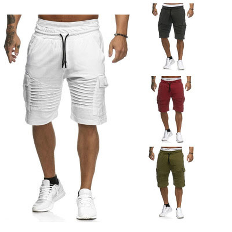 Spring Summer Fashion Sports Shorts 2019 Solid Color Pleated Pockets Slim Tie Straight Mouth Sports Casual Men's Trousers