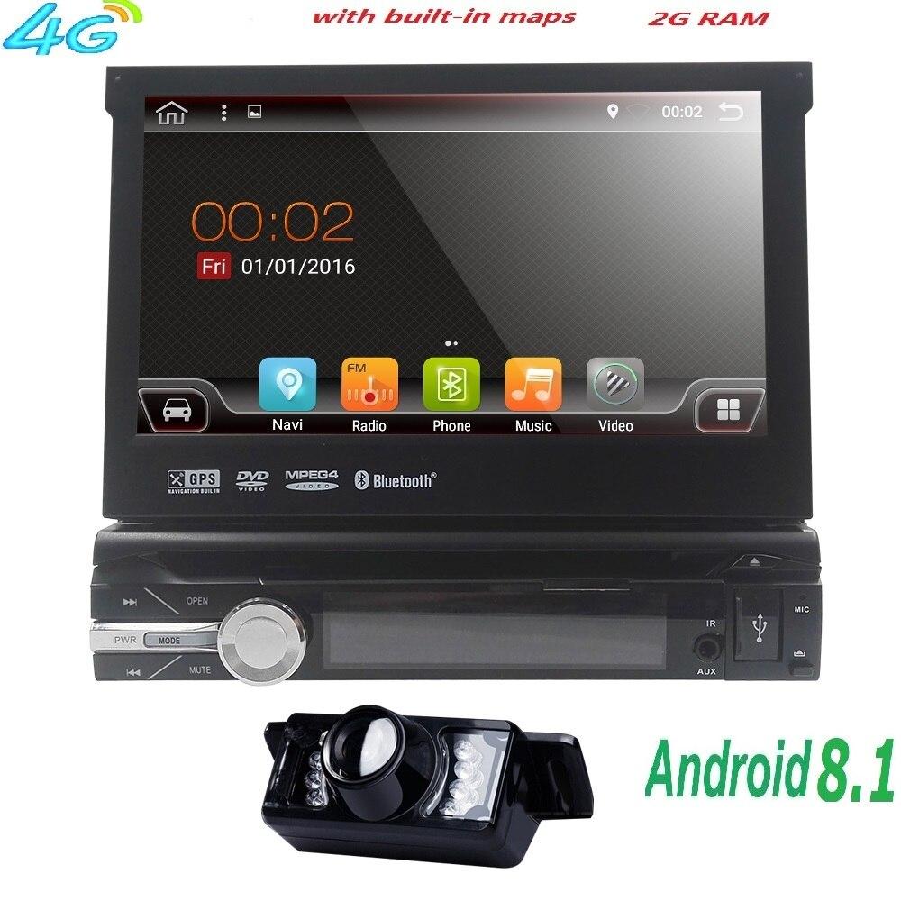 7 Universal 1din Android 8.1 Quad Core lecteur DVD de Voiture GPS Navigation Wifi BT autoRadio 2 GB RAM 16 GO ROM 4G CFC RDS OBD2 DAB CD