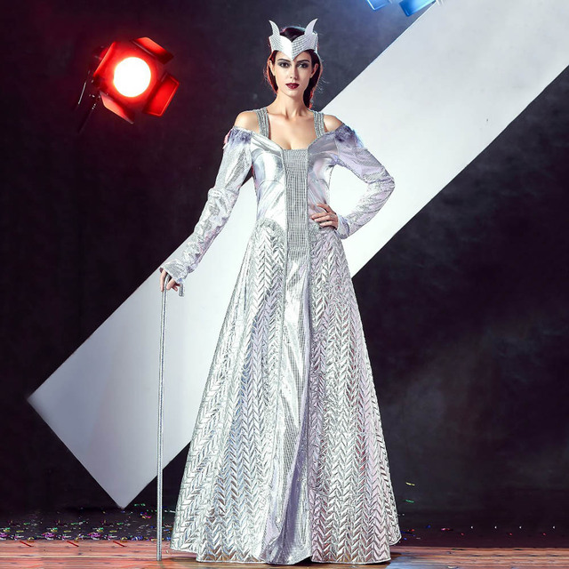 adult ice queen costume princess costume silver shiny metallic long dress full sleeve fancy dress halloween