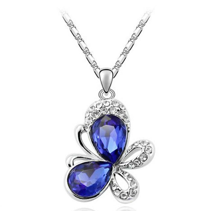 G044 AAA silver plated elegante collar de cristal colgante