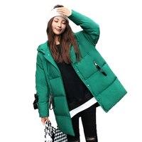 Для девочек стильная дутая парки зимние стеганые пальто с капюшоном женщина зеленый черный Puff капюшон куртки Для женщин Повседневное Мягки