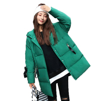 Girls Stylish Puffer Parkas Winter Quilted Hooded Coat Woman Green Black Puff Hood Jacket Women Casual Padded Overcoat Outerwear