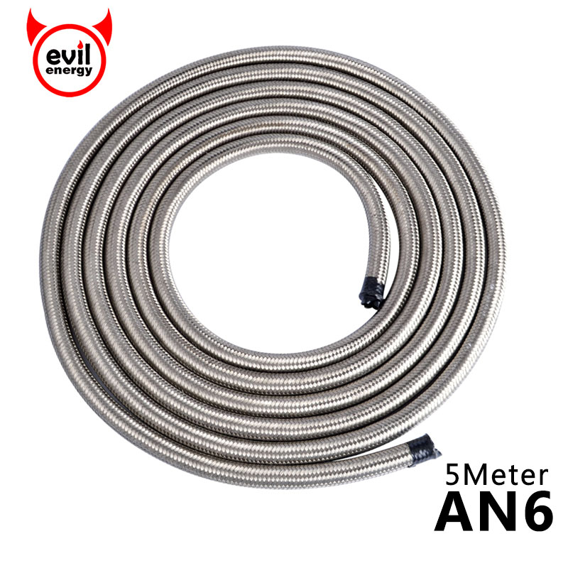 evil energy Universal AN6 Oil Fuel Hose Double Braided Fuel Hose Line Stainless Steel Hose End Line Oil Cooler Adapter Kit 5M 2l aluminium an6 fuel surge tank 2 litre swirl port 5m fuel oil line an6 hose end adapter system kit black and red