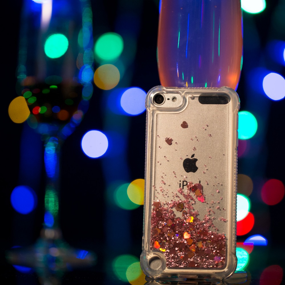 For Apple iPod TOUCH5 TOUCH6 Fashion cute case Coque Silicone TPU Liquid Glitter Love Phone Cases cover