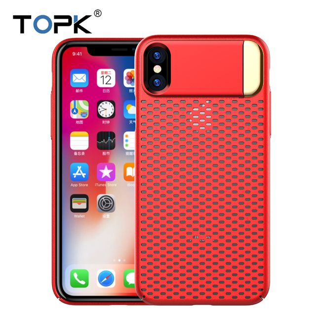 TOPK Heat Dissipation Stand Phone Case For iPhone X ,Ultra Thin Metal Kickstand Openwork Non-Slip Mesh Protective Case Cove