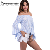 Cold Shoulder Tops Off Shoulder Top Striped Shirt Autumn 2017 Kimono Chemise Femme Camisa Feminina Blusas
