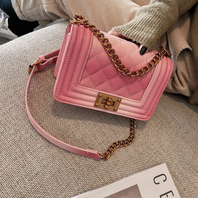 Luxury New Fashion Gradient Women Messenger Bags Chain Leather Clutches Crossbody Cover Flap Ladies Shoulder Bag Purse Female