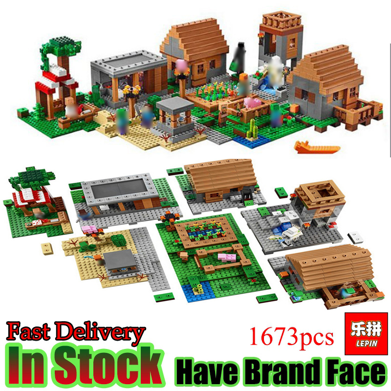 LEPIN My Worlds Game 1673pcs Minecraft Village House Set Model building blocks Bricks Figures kits toys for children dhl lepin 18032 2932 pcs the mountain cave my worlds model building kit blocks bricks children toys clone21137 in stock