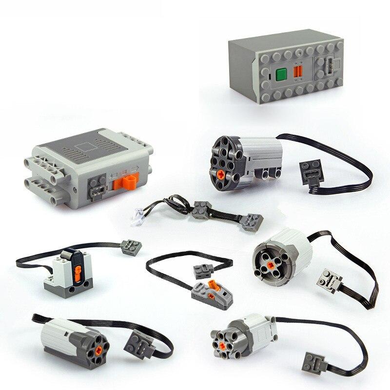 Em Estoque Motor técnica trem Receptor Remoto Luz LED Battery Power Box Funções 20001 3368 Peças Technic 20053 MOC Tijolo brinquedos