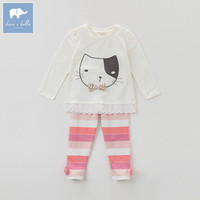 DK0766 Dave Bella Autumn Baby Girls Cat Printing Clothing Sets Suit Children Fashion Outfits Kids High