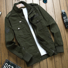 Men jacket jean military Plus  army soldier cotton Air force one male Brand clothing Spring Autumn Mens jackets khaki black