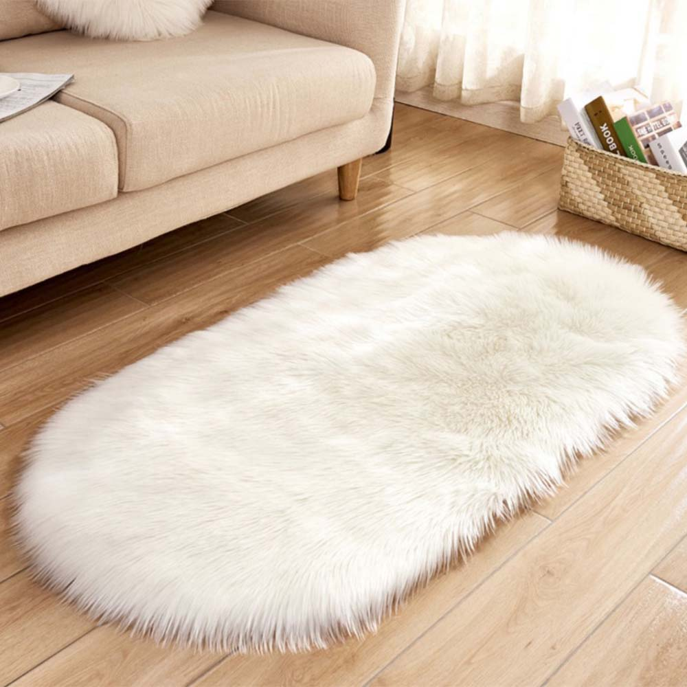 Us 6 38 42 Off Soft Faux Sheepskin Fur Chair Cushion Area Rugs For Bedroom Floor Gy Silky Plush Carpet White Bedside Mat In From Home
