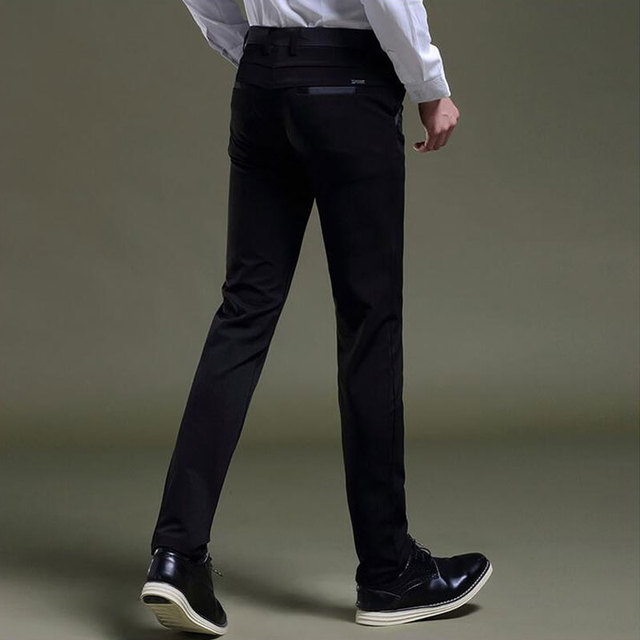 Mens Casual Black Pants Korean Style Male Slim Fit Skinny Pants Fashion  Spring Fall Work Wear