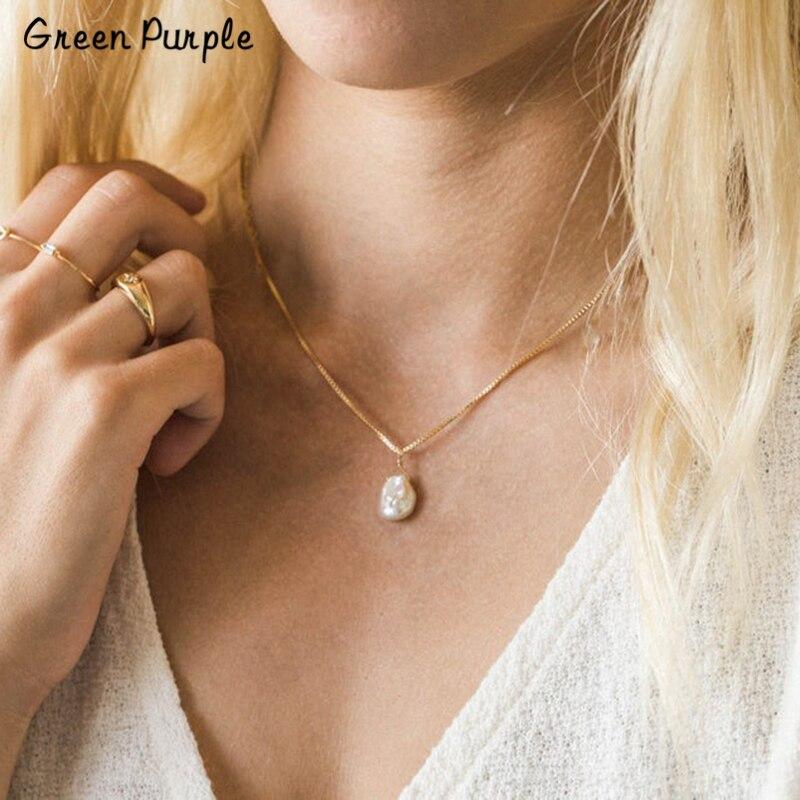Collier de perles d'eau douce naturelles faites à la main pendentifs en or bijoux personnalisés Collier Femme bohème Kolye femmes Collier