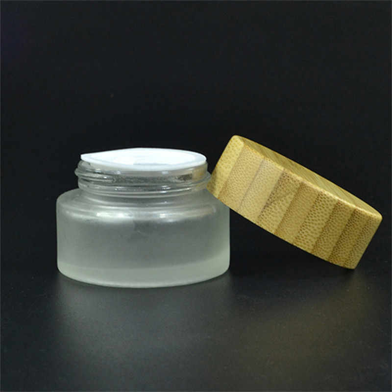 be14bd66f698 50pc *100g bamboo cosmetic jars cosmetic glass bottle frosted with bamboo  lid glass jars wooden lid bamboo cosmetic packaging