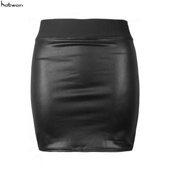 2017 Sexy kobiet czarny PU skóra ołówek Bodycon wysokiej talii Mini krótka elastyczna spódnica tanie i dobre opinie WOMEN Stałe Ołówkowa Powyżej kolana mini Na co dzień Meihuida NONE Skirts Naturalne Faux leather