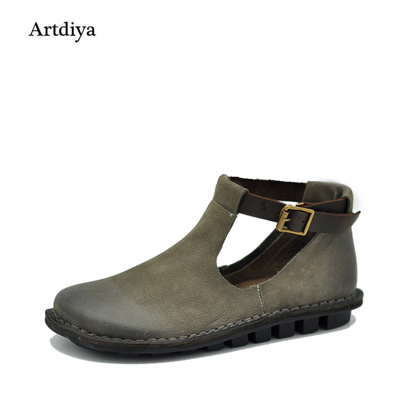 Artdiya 2018 Original Spring New Retro Women Shoes Genuine Leather Shoes Buckle Deep Mouth Flat Shoes F62-23 artdiya 2018 spring new women s shoes genuine leather handmade retro elastic band rubber flat shoes b292 2