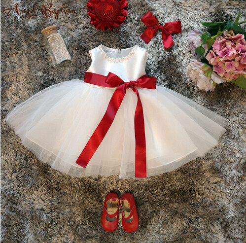 ФОТО Sparkly beads pearls Flower Girl Dress infant christening dresses baptism gown baby 1 year birthday gown with red bow sash hat