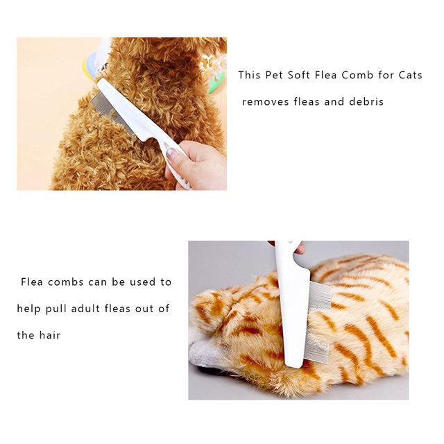Pet Soft  Animal Care Comb Protect Flea Comb for Cat Dog Pet Hair Grooming Comb Stainless Steel Comfort Flea Comb Grooming 5