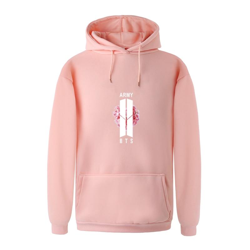 Dandeqi Women BTS Hoodies Kpop Style BTS Floral Sakura Bangtan Boys Hooded Sweatshirt Fall Winter Women Men Plus Size Pullover