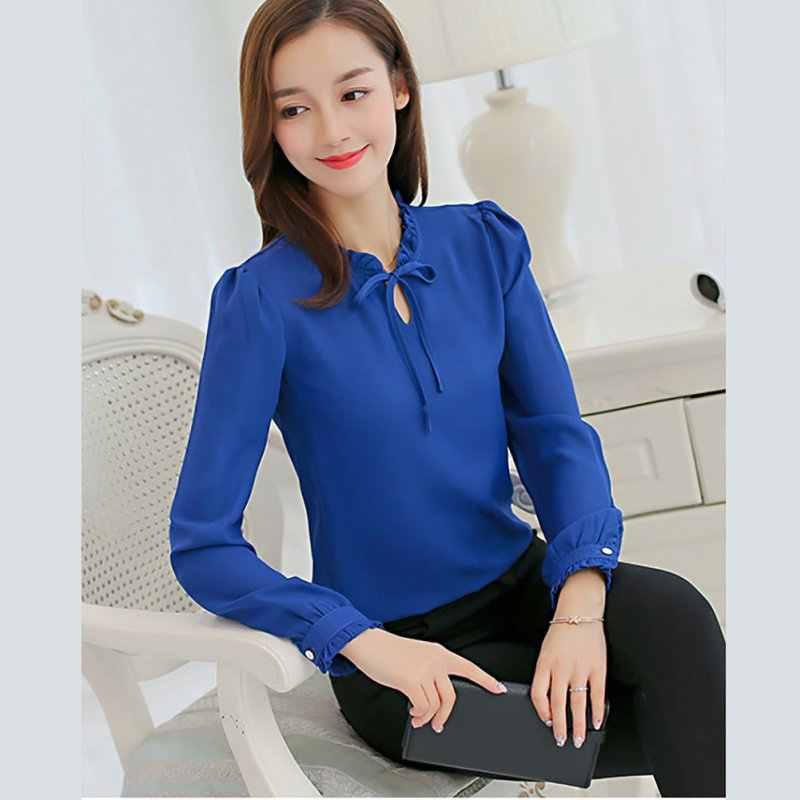diseño popular los mejores precios entrega gratis Camisas de mujer de manga larga con cuello y lazo blusas elegantes blusa de  chifón para mujer