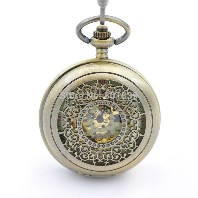 online get cheap wind up pocket watch aliexpress com alibaba group h277 antique style new case double open skeleton hand wind up pocket watch w chain mechanical pocket watch for men