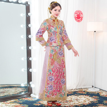 Arrival New Pink Embroidery Phoenix Women Qipao Noble Women Marriage Suit Asian Bride Wedding Evening Party Dress Gown S-XXL