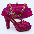 Italian Shoes With Matching Bag High Quality For Flower Italy Shoes And Bag For Evening Free Shipping CP63009 Fuchsia Color!!