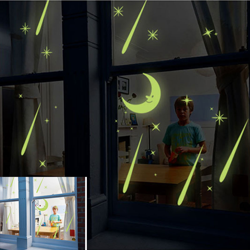 Meteor Shower Wall Stickers Sky Star Moon Wall Decals Luminous Stickers Fluorescence Kids Room Bedroom Nursery TB Sale