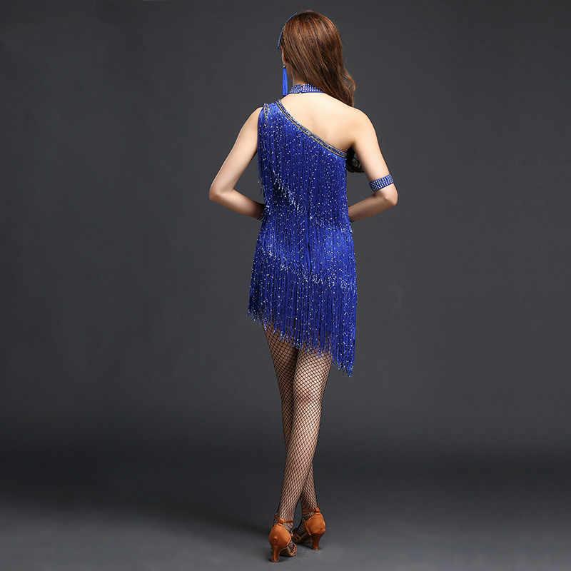 Paillette flecos vestido de baile latino para la competencia mujer vestido de práctica de salón/Tango/Rumba/Vestido Latino para bailarina