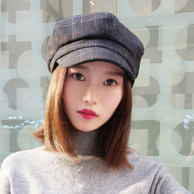 Ladies fall fashion lattice octagonal cap Leisure retro English painter hat  for women d83187be7f0