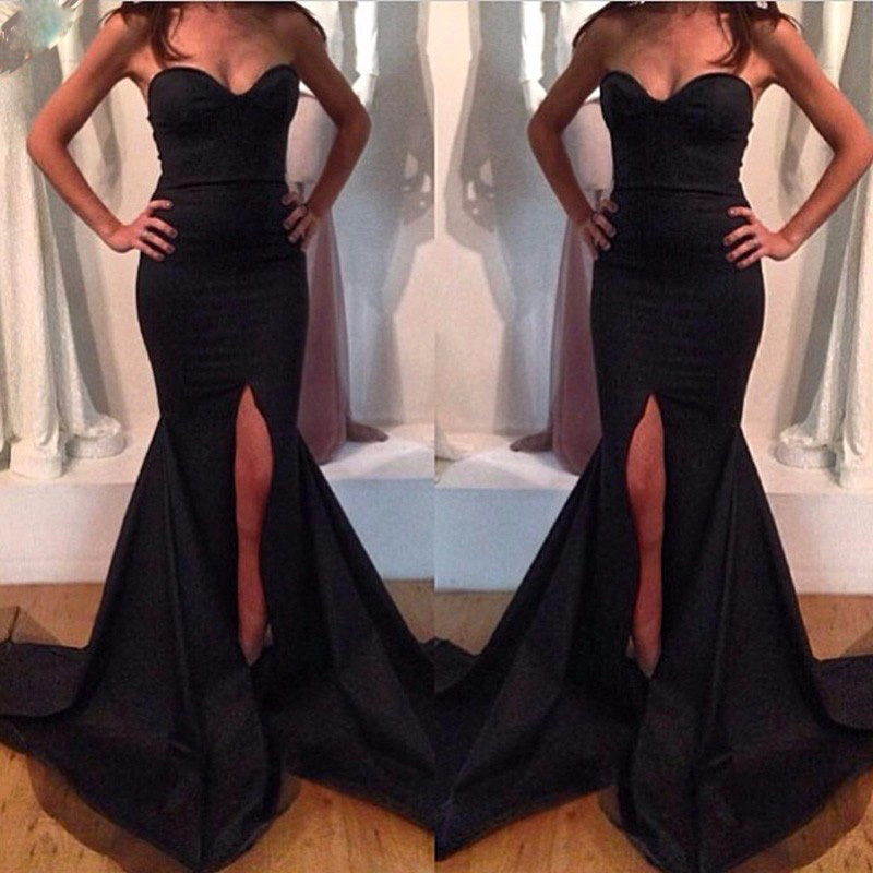 Sweetheart Sleeveless Court Train Side Slit Black Taffeta Mermaid   Prom     Dresses   Sexy Long Black Evening Party Gowns Free Shipping