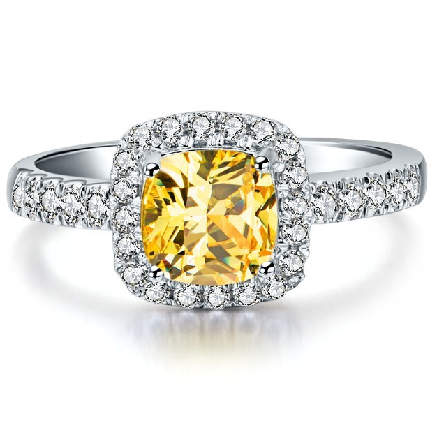 Popular Promise 2CT Yellow Cushion Cut Fabulous Diamond Ring Genuine Solid Sterling...