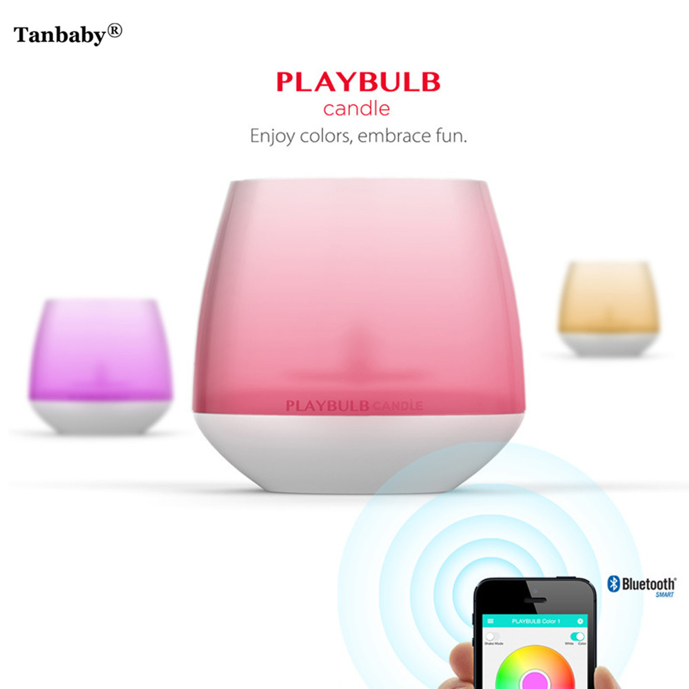 Tanbaby PLAYBULB Smart Bluetooth LED Candle Light Flameless RGB Scented Romantic Tea Light Wireless Aromatherapy Night Light mipow btl300 creative led light bluetooth aromatherapy flameless candle voice control lamp holiday party decoration gift