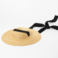 [La MaxPa] Boater Hat Summer Beach Sun Hat for Women Fashion Ladies Wheat Straw Hat with 10cm brim