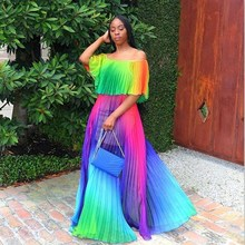 Summer Rainbow Pleated Chiffon Maxi Dress Women Off Shoulder Long Party Casual Bohemian Ruffled