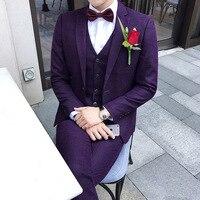 Purple Wedding Dresses Man Suit Anzug Herren Prom Party Suit Slim Fit Costume Homme Latest Coat Pant Design 3xl Event Suit