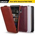 Imuca marca original pu leather flip case para htc desire 700 709d 7060 7088 phone case shell tampa da pele