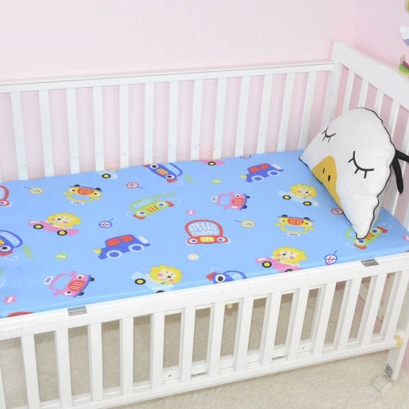 1 Piece Anti-slip Crib Fitted Sheet For Newborns Cot Mattress Cover Pure Cotton Absorbent Sweat Beddings Cartoon Baby Sheets