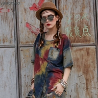 Thin Soft Denim Cotton Retro Vintage T shirts Hip Hop Summer Women Loose O Neck Tees Fashion Printing Plus size Tops A74 Z20