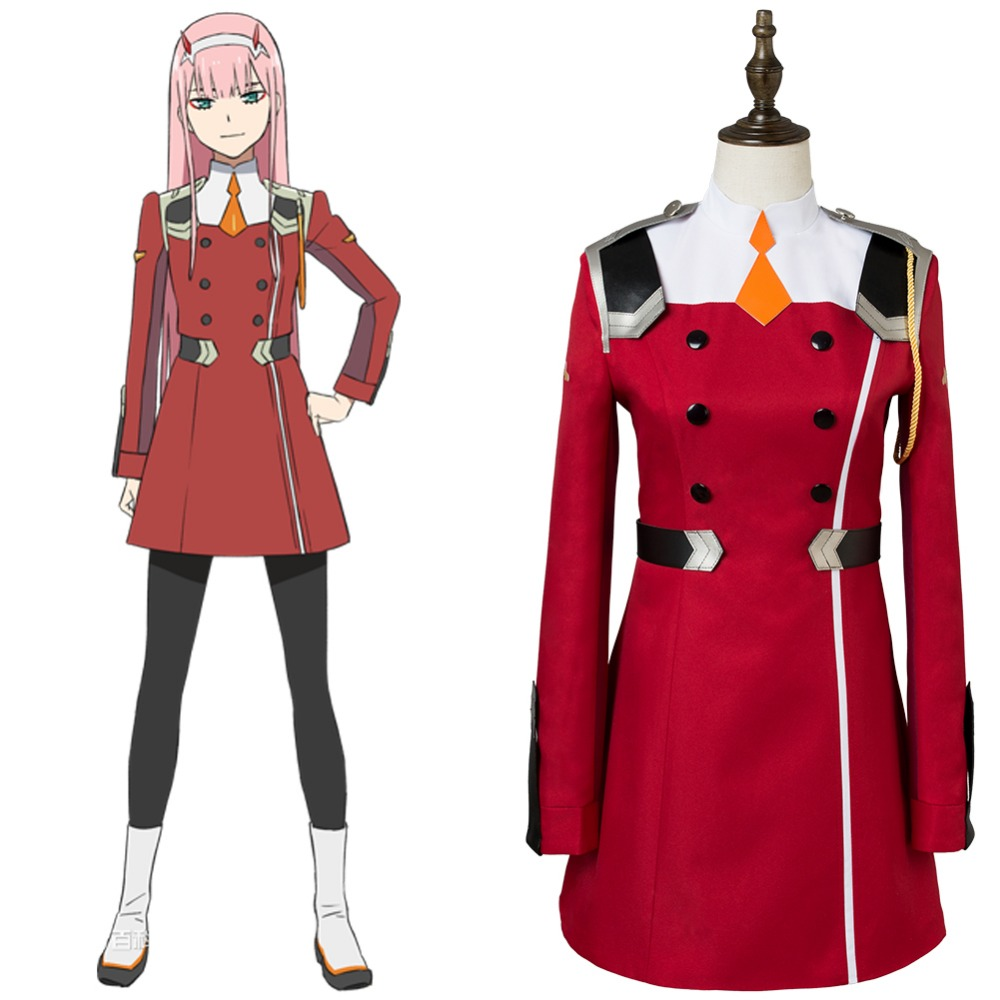 Anime DARLING in the FRANXX Cosplay Zero Two Code 002 Uniform Dress Cosplay Costume Halloween Carnival