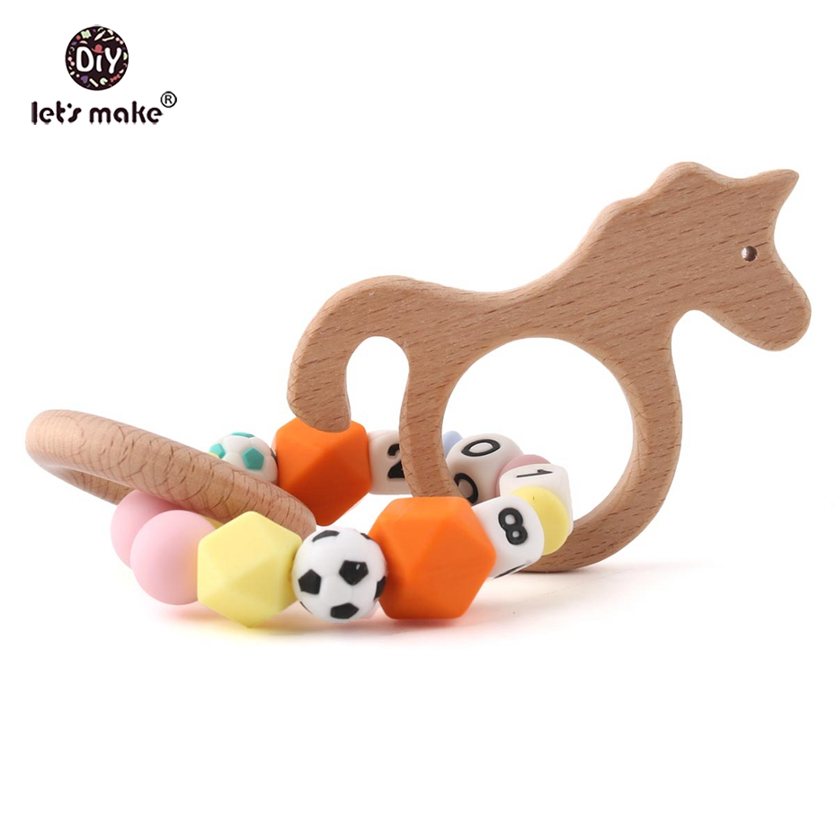Lovely Let's Make 1pc Beech Animal Wood Unicorn Teething Wooden Ring Rattle Private Custom Personalise Can Chew Silicone Beads Baby Toy Mild And Mellow