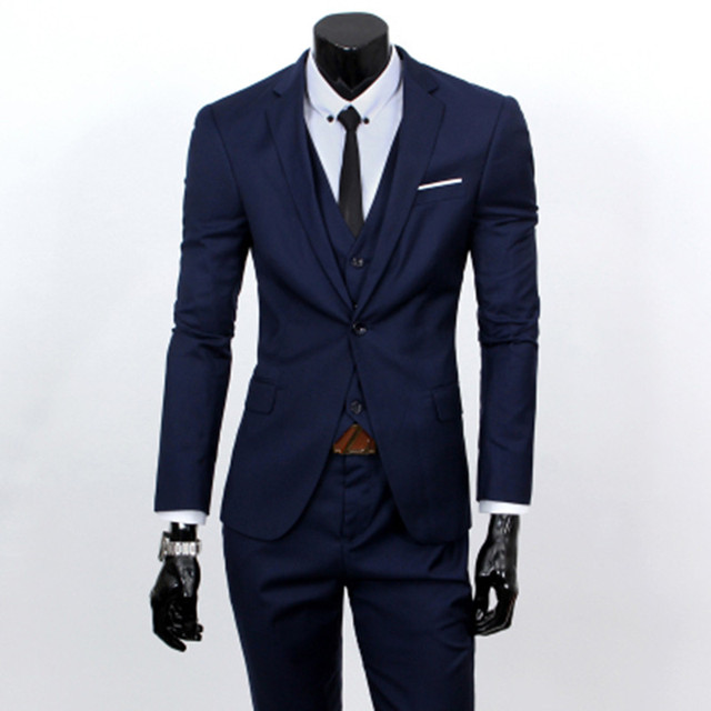 ( jacket + vest + pants ) 2018 Spring Men's Slim Fit Business Three-piece Suits Male groom Party dress /Man Wedding Blazers Sets 3