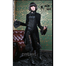 PUNK RAVE Steampunk Black Vintage Long Jacket Coat Gothic Palace Party Swallowtail Lolita Women Cosplay Costume